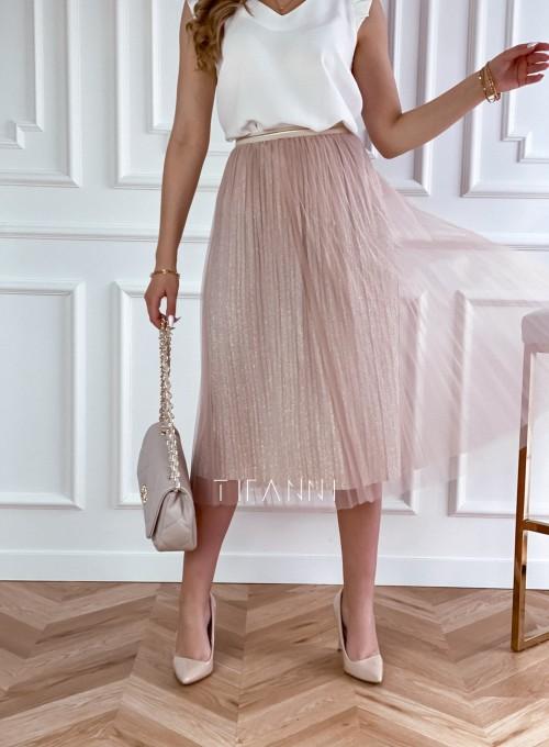 Elegancka plisowana spódnica Loren beżowa 3