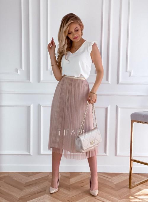 Elegancka plisowana spódnica Loren beżowa 1