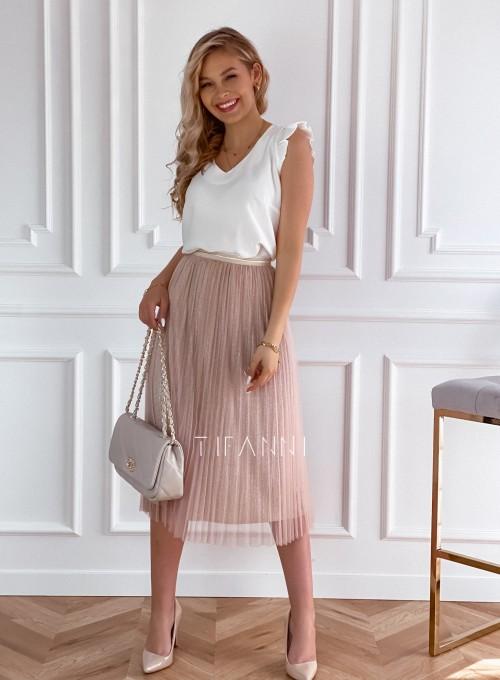 Elegancka plisowana spódnica Loren beżowa 4