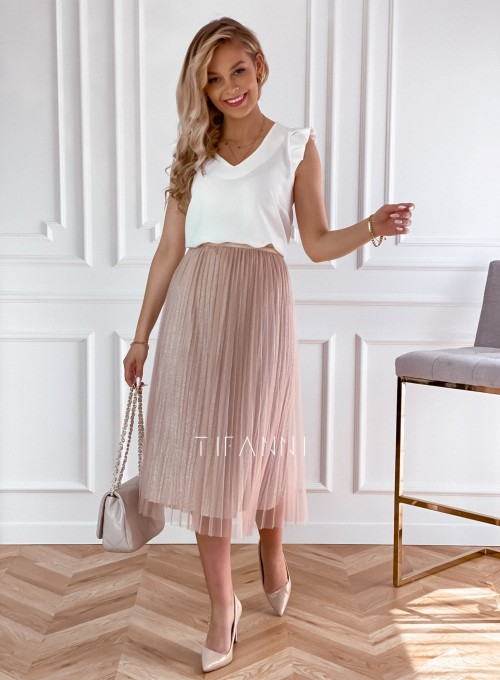 Elegancka plisowana spódnica Loren beżowa 5