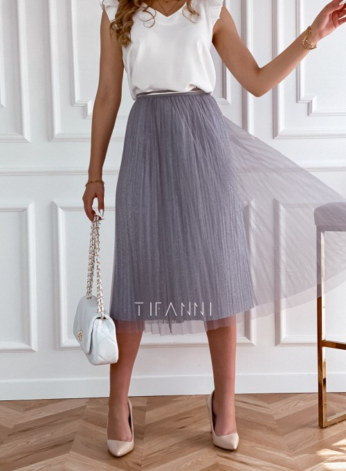 Elegancka plisowana spódnica Loren popiel