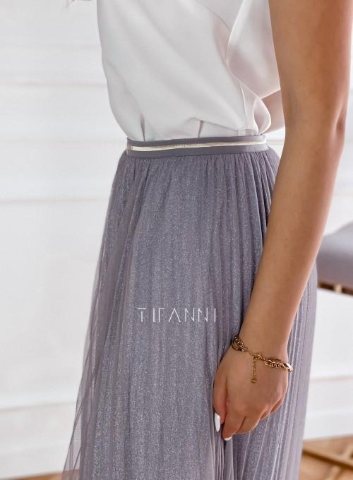 Elegancka plisowana spódnica Loren popiel 4