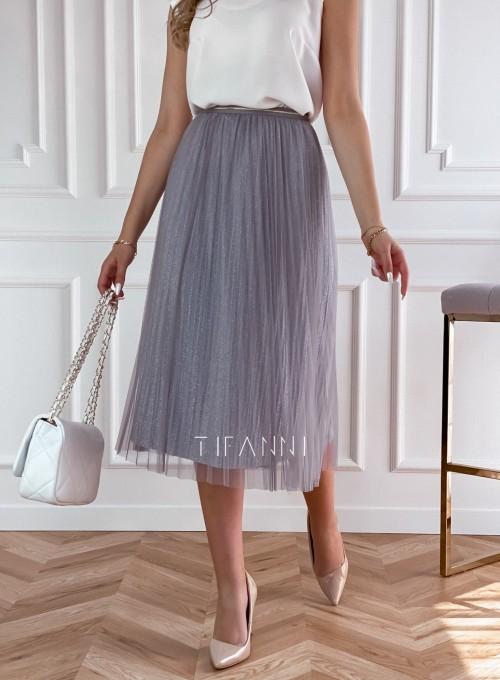 Elegancka plisowana spódnica Loren popiel 6