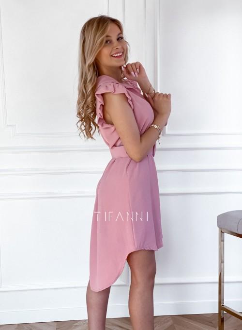 Sukienka z kołnierzykiem Mandi pudrowa 3