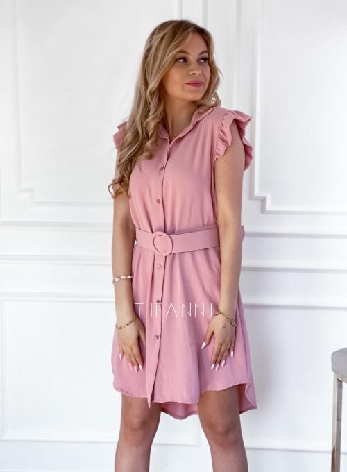 Sukienka z kołnierzykiem Mandi pudrowa 5