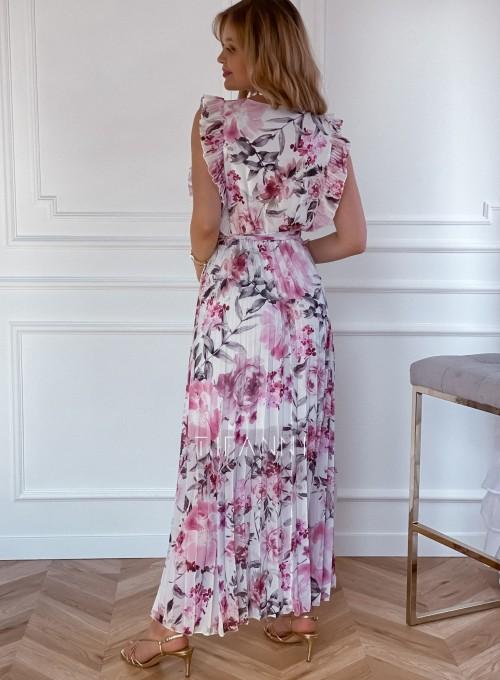 Długa plisowana sukienka Debra kwiatki 2