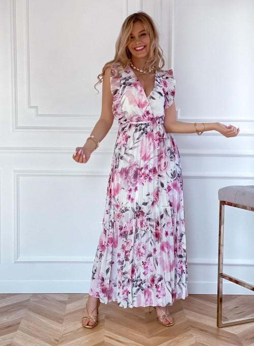 Długa plisowana sukienka Debra kwiatki 3