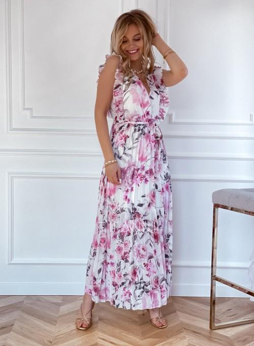 Długa plisowana sukienka Debra kwiatki 4