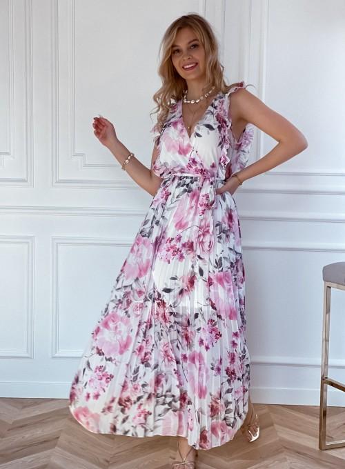 Długa plisowana sukienka Debra kwiatki 5