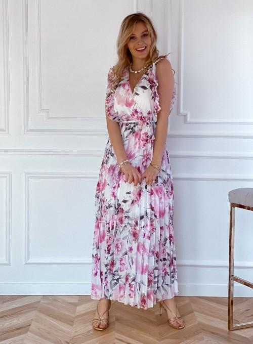 Długa plisowana sukienka Debra kwiatki 6