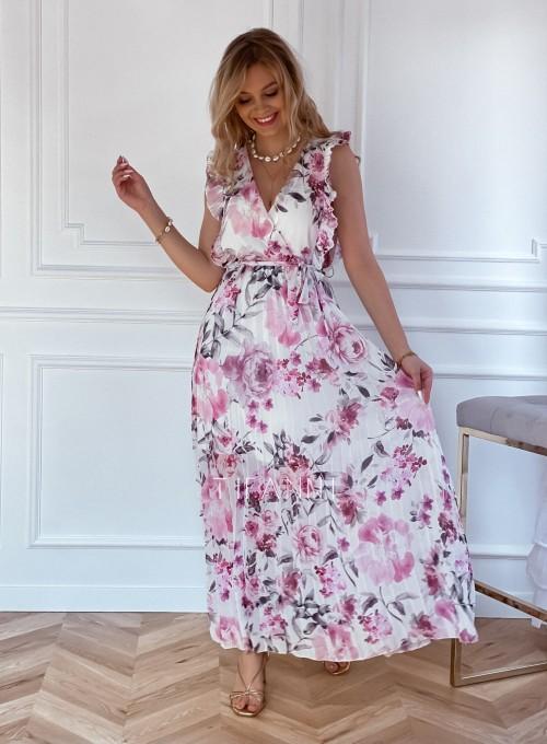 Długa plisowana sukienka Debra kwiatki 7