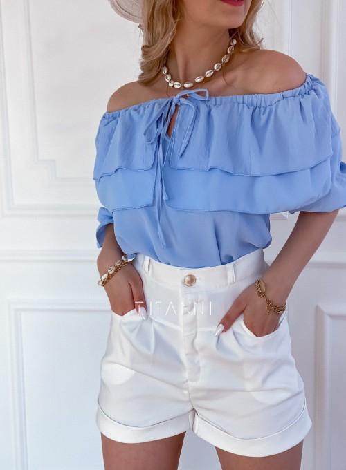 Bluzka hiszpanka z falbankami Pati blue 1