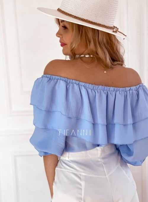 Bluzka hiszpanka z falbankami Pati blue 3