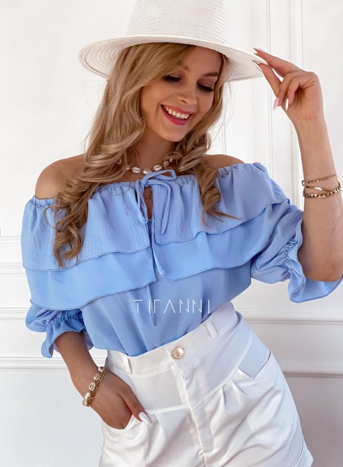 Bluzka hiszpanka z falbankami Pati blue 4