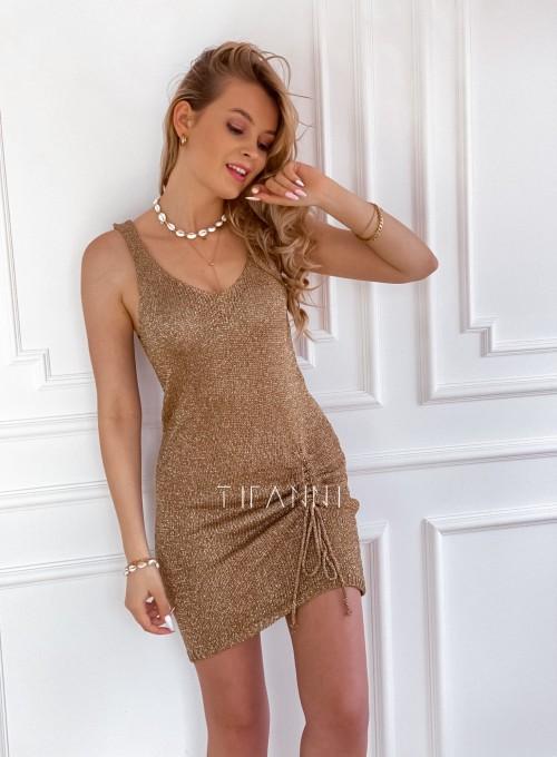 Sukienka dzianinowa złota ze złotą nitką Poli