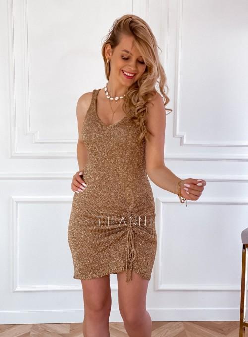 Sukienka dzianinowa złota ze złotą nitką Poli 3