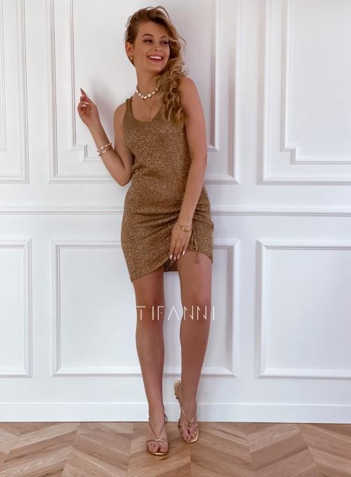 Sukienka dzianinowa złota ze złotą nitką Poli 4