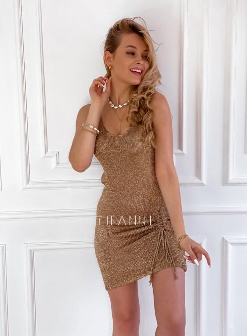 Sukienka dzianinowa złota ze złotą nitką Poli 5