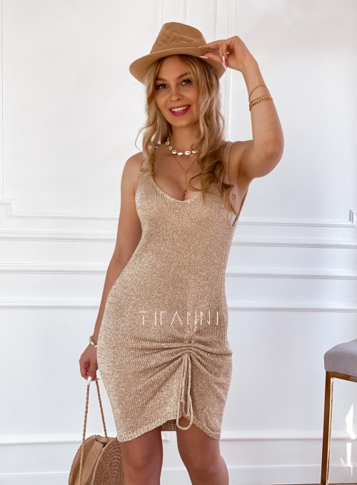 Sukienka dzianinowa złota ze złotą nitką Poli II 2