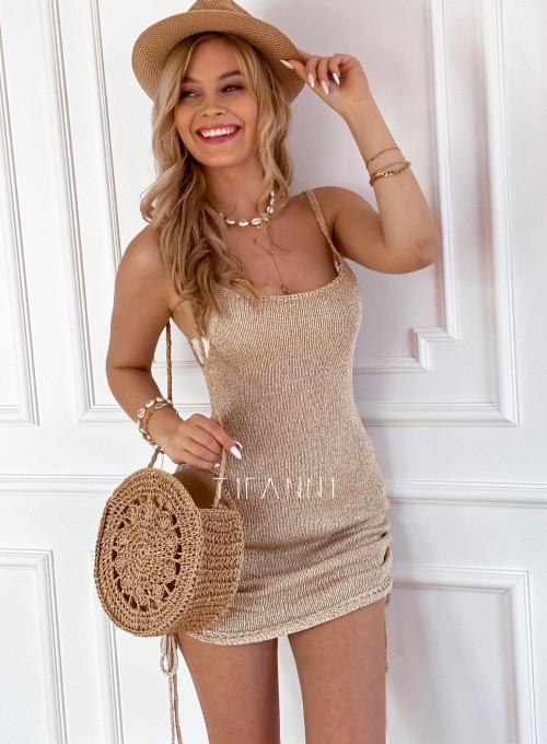 Sukienka dzianinowa złota Lemi 1