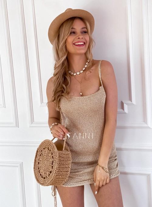 Sukienka dzianinowa złota Lemi 2