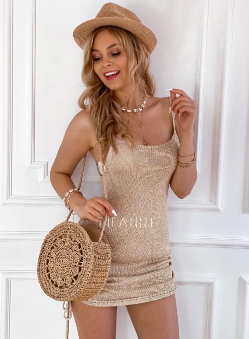Sukienka dzianinowa złota Lemi 3