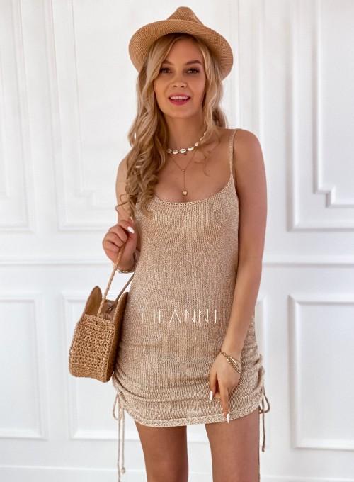 Sukienka dzianinowa złota Lemi 4