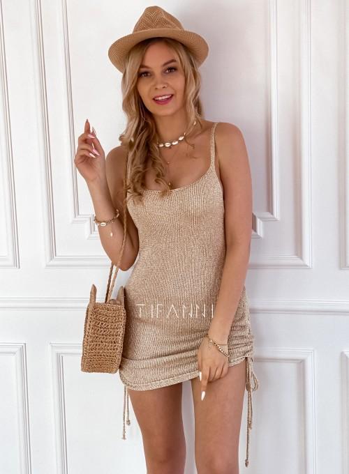 Sukienka dzianinowa złota Lemi 6