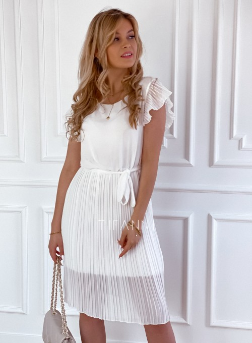 Plisowana sukienka Blanca śmietankowa