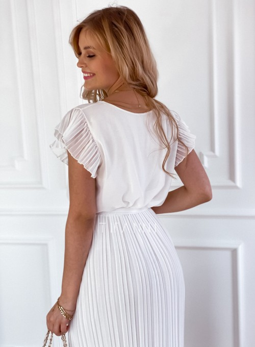Plisowana sukienka Blanca śmietankowa 2
