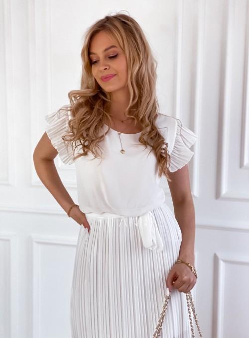 Plisowana sukienka Blanca śmietankowa 1