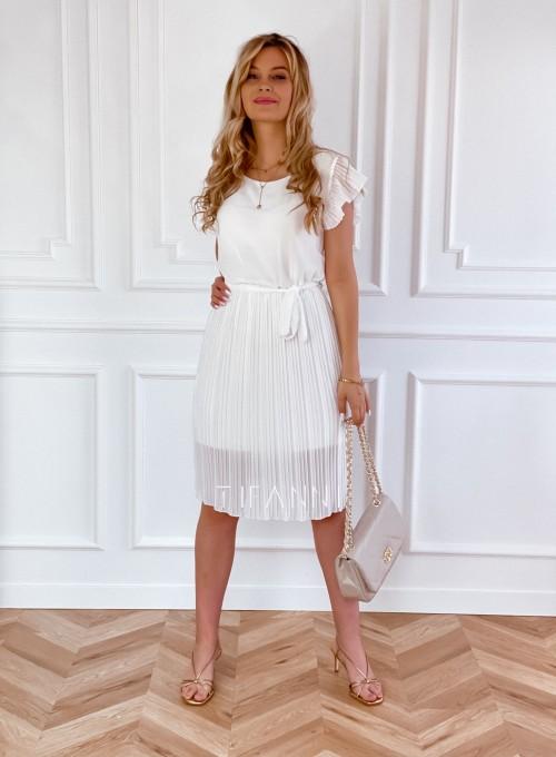 Plisowana sukienka Blanca śmietankowa 3