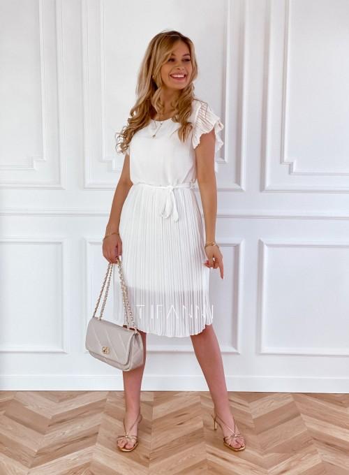 Plisowana sukienka Blanca śmietankowa 4