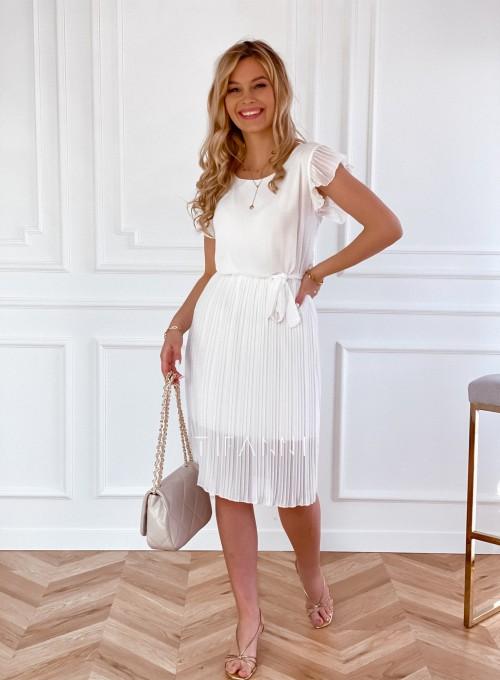 Plisowana sukienka Blanca śmietankowa 5