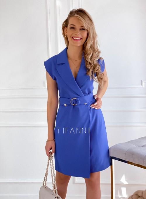 Sukienka z paskiem Carlo kobalt