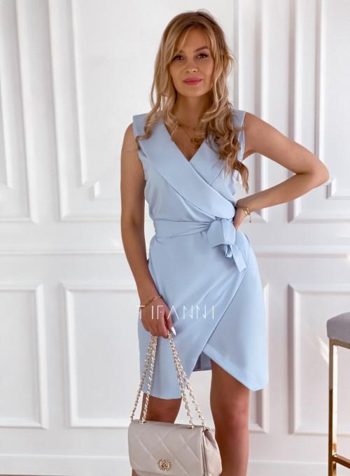 Sukienka z dekoltem w kopertę Andy błękitna