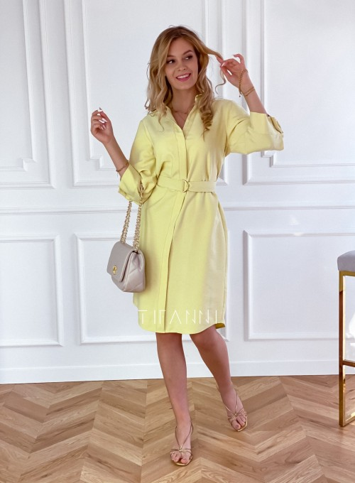 Sukienka z paskiem Brilante bananowa 3