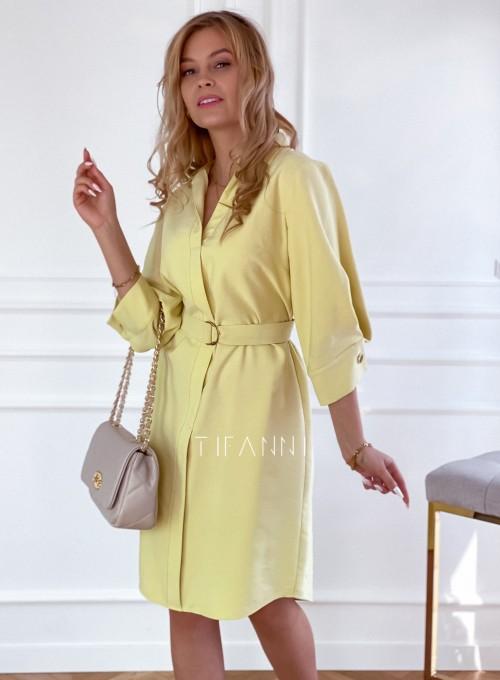 Sukienka z paskiem Brilante bananowa 1