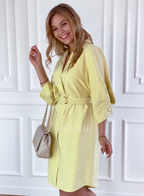 Sukienka z paskiem Brilante bananowa 4