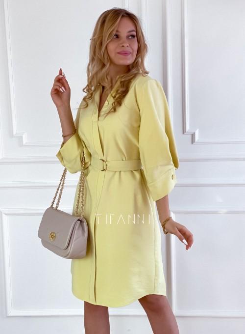 Sukienka z paskiem Brilante bananowa 5