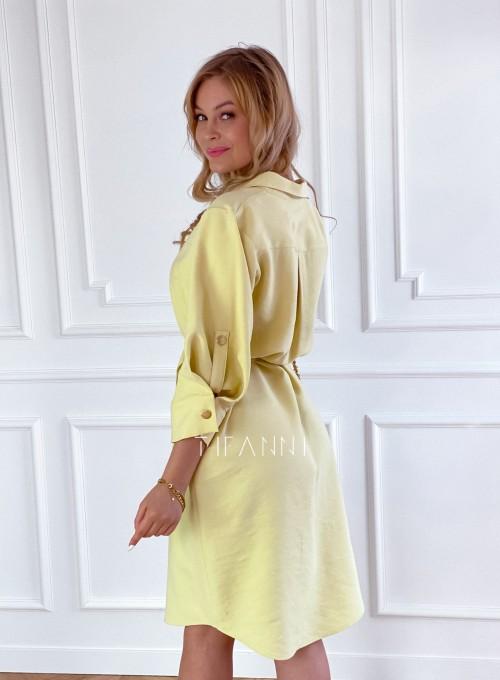 Sukienka z paskiem Brilante bananowa 2