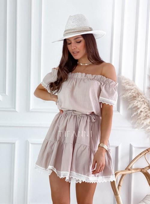Sukienka Nico hiszpanka beżowa 3