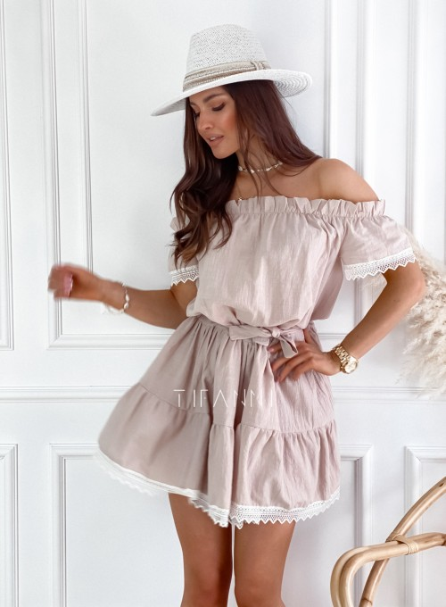 Sukienka Nico hiszpanka beżowa 4