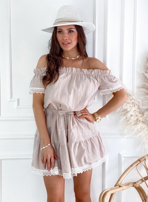 Sukienka Nico hiszpanka beżowa 5