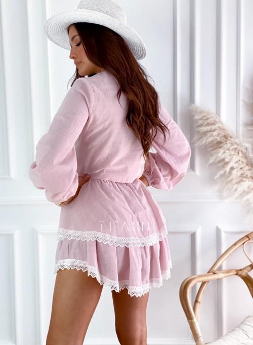 Komplet bluzka spódnica Vogue pudrowy 2