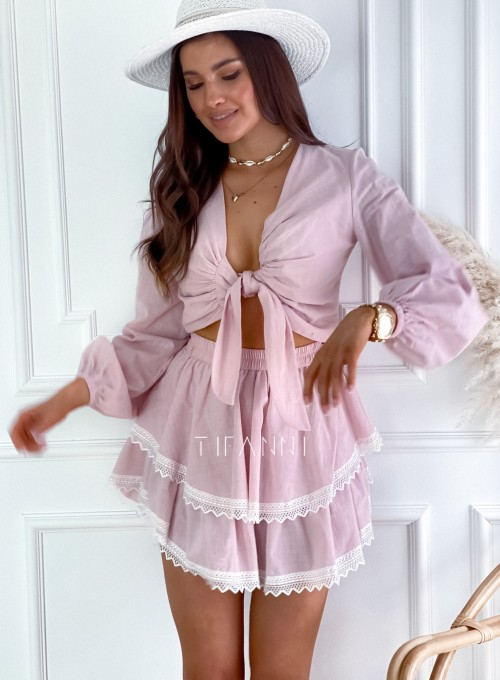 Komplet bluzka spódnica Vogue pudrowy 4