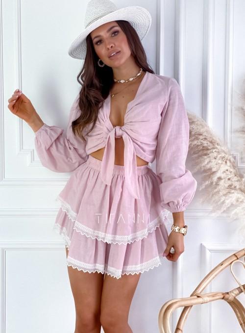 Komplet bluzka spódnica Vogue pudrowy 5