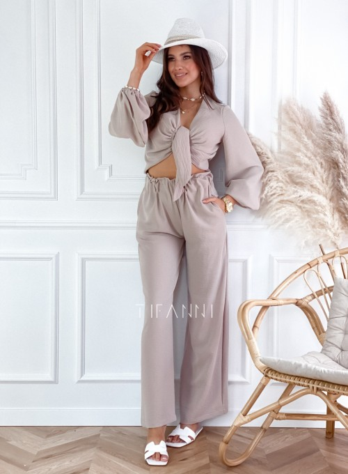 Komplet bluzka ze spodniami Vigo beżowy 4
