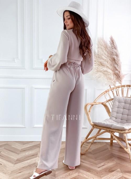 Komplet bluzka ze spodniami Vigo beżowy 7