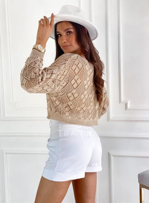 Złoty ażurkowy sweter Tiara 4